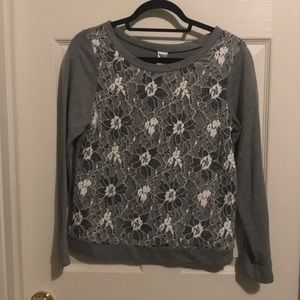 Gray Sweatshirt with White Lace Overlay